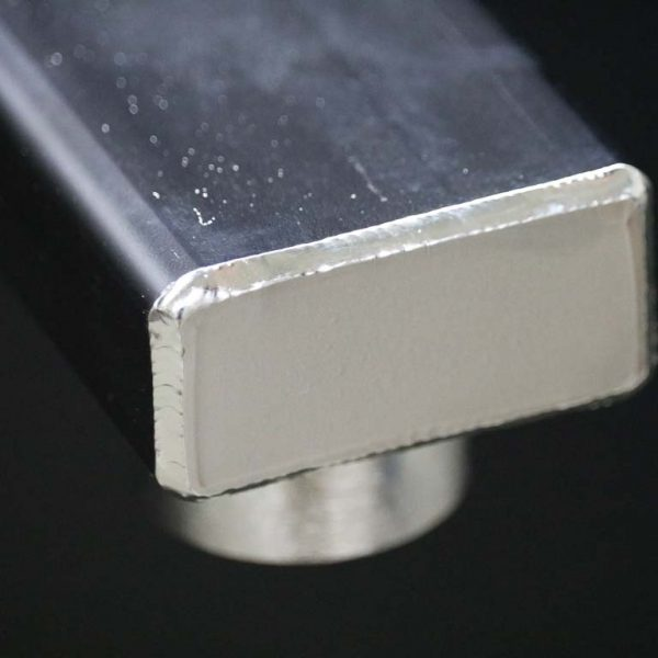 """Close-up of the 1/2"""" hydronic heating expansion tank bracket expert welding"""